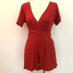 NWT Forever 21 Burnt Orange Romper with Waist Tie